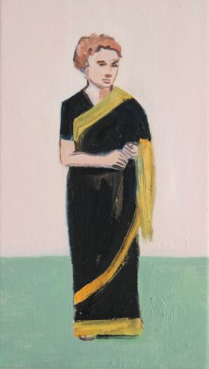 Matthew Krishanu, Black and Gold sari, oil on canvas, 35 x 20cm, 2016