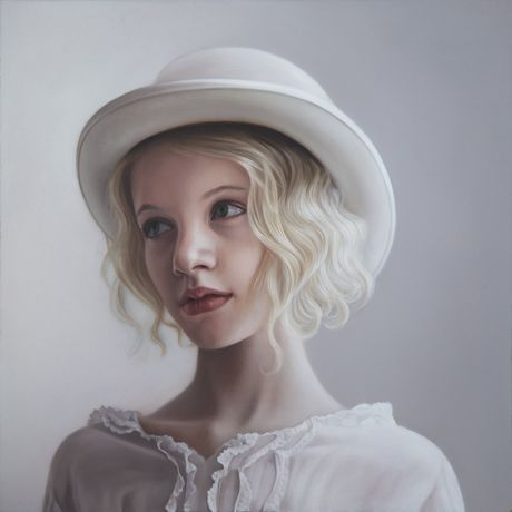 Mary Jane Ansell ' Girl with Bowler Hat - Oil on Aluminium