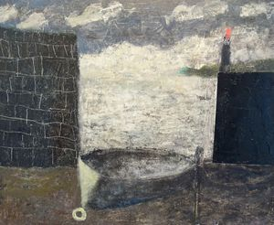 Boat and Lighthouse by Nicholas Turner RWA