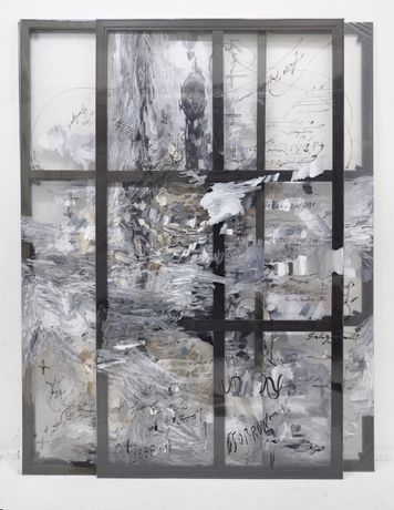 Felipe Talo, Two rocks and a sparkle of fire, 2015, mixed media on plastic, wooden stretcher, 240 x 190 x 20 cm