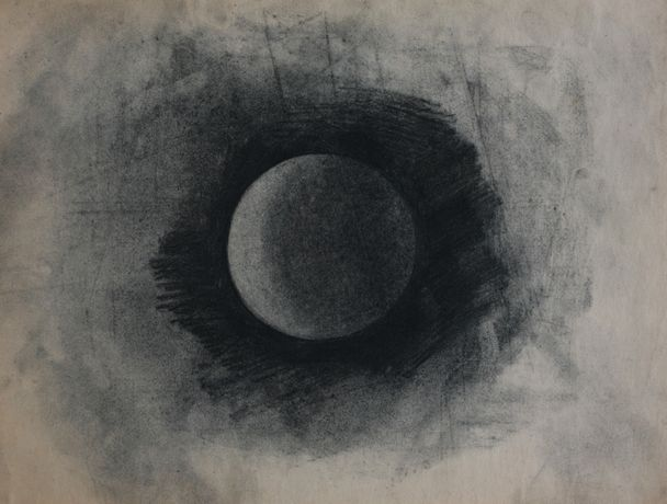 Fergus Hare, Moon #6, Charcoal, 30x37.5cm