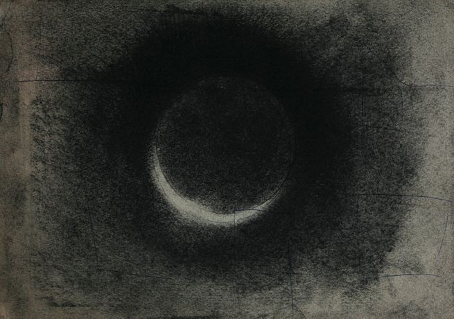 Fergus Hare, Solar Eclipse, Nearing Totality, Charcoal, 31x45cm