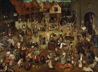 Fight between Carnival and Lent, Pieter Bruegel the elder, dated 1559 wood © KHM-Museumsverband