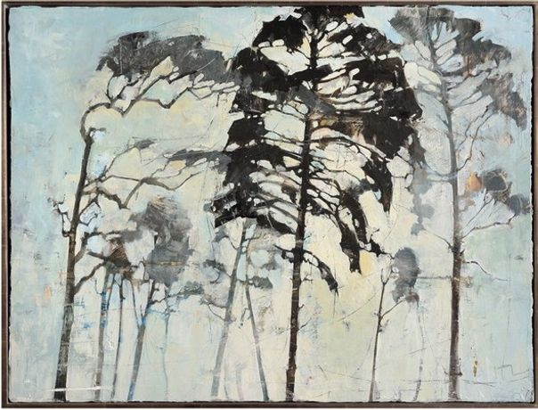Ffiona Lewis, Morning through Pine, 2016, oil on board, 60x80cm.