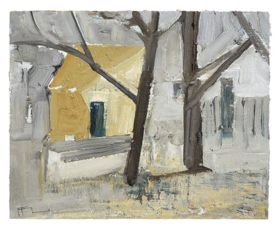 Ffiona Lewis, Farmhouse through Beech, Ocher on Davy's Gray, 2017, oil on gesso board, 24x30cm.