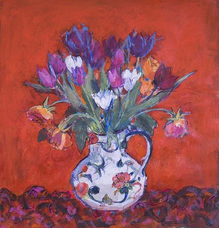Ann Oram, Tulips & Faded Roses on Red