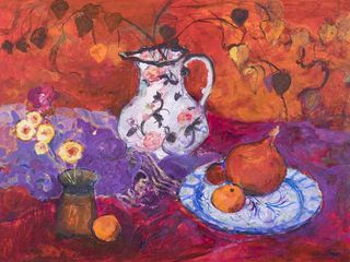Ann Oram, Red Still Life with Chinese Lanterns