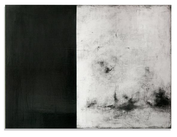 "Nancy Hubbard, Wuthering, c. 2014, 36"" x 48""', gesso sottile, charcoal, graphite, burnishing clay, pigment, carnauba wax on wood panel"