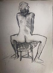 Seated woman charcoal on paper
