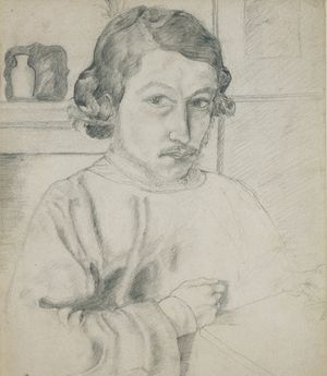 William Morris 'Self Portrait' Pencil drawing, 1856. Courtesy of V&A and Dr R Campbell Thompson.