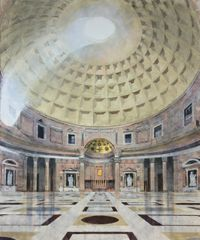 Rose Long - The Pantheon Interior, Rome - Acrylic & Oil on linen 180x150cm
