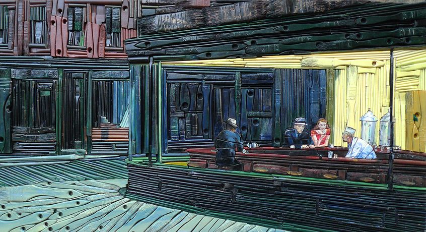 Finn Stone, NIGHTHAWKS, 94 x 44 cm, Repurposed paintbrushes