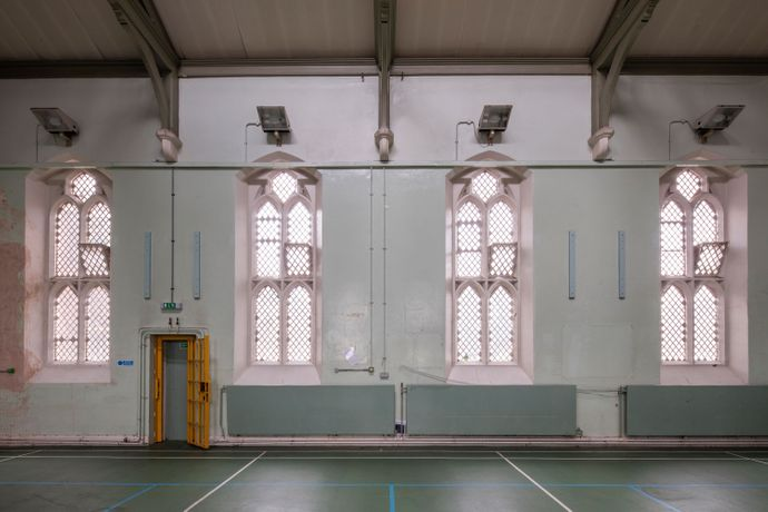 Inside the chapel which rises through the first and second floors of the Victorian wing of HM Prison Reading. Photograph: Morley von Sternberg, June 2016