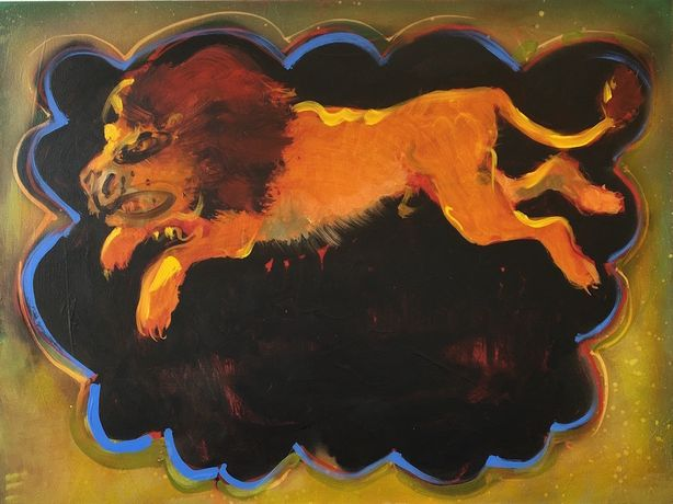 Nicola Bealing 'Escaped Lion'; Oil and spray paint on aluminium, 20 x 30 cm