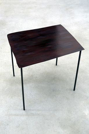 Sculpture of a Table #6, 2011, card, acrylic paint, varnish, aluminium, 50 x 60 x 70 cm