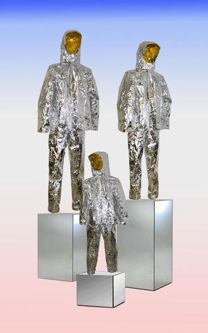 Olivia Lennon, Space Invaders, mixed media suits, 2018
