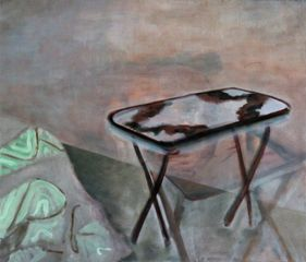 Flora Whiteley, Occasional table, 2014, oil on linen, 75x90cm