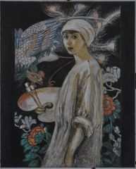 Florine Stettheimer, Self-Portrait with Paradise Birds (Self-Portrait in Front of Chinese Screen). Oil on canvas, 39½ x 31¾ in. (100.3 x 80.7 cm). Art Properties, Avery Architectural and Fine Arts Library, Columbia University in the City of New York, New York. Gift of the Estate of Ettie Stettheimer, 1967