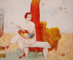Florine Stettheimer, Self-Portrait with Palette (Painter and Faun), undated. Oil on canvas. 60 x 71⅞ in. (152.4 x 182.6 cm). Art Properties, Avery Architectural and Fine Arts Library, Columbia University in the City of New York. Gift of the Estate of Ettie Stettheimer, 196