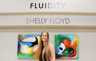 Shelly Floyd Artist at Fluidity Opening.
