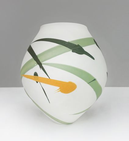 Ali Tomlin - Oval Vase, green and yellow
