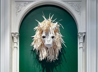 Katia Kameli, The Lion, Mask study for Stream of Stories, paper and cardboard, 2015. Courtesy of the artist