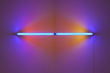 Dan Flavin, Untitled , 1969 two 48-inch blue, two 24-inch pink, one 24-inch yellow lights and fixtures