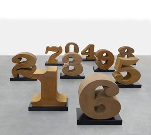 Robert Indiana, ONE through ZERO (Cor-ten steel), 2003 cor-ten steel on painted aluminium base
