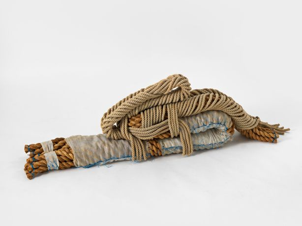 Françoise Grossen Embryo, 1987 Manila and cotton rope, synthetic wrapping material 21 x 62 x 12 inches