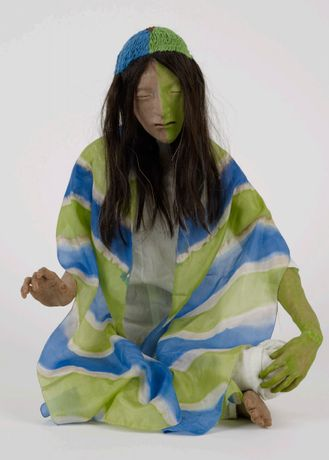 Francis Upritchard, Blue and Green Scarf 2012, modelling material, foil, wire, paint, cloth, human hair. Collection of Auckland Art Gallery Toi o Tamaki, gift of the Patrons of the Auckland Art Gallery, 2013