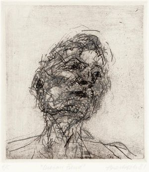 Frank Auerbach, Lucian Freud, 1981 (4th print of the series Six Etchings of Heads), Private collection, Cologne, Photo: Städel Museum, © Frank Auerbach, courtesy Marlborough Fine Art