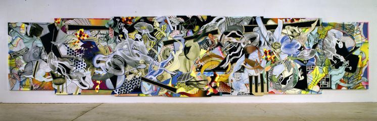 Frank Stella, Die Marquise von O, 1999, Mixed media on 7 canvas panels, 304.8 x 1317 cm (120 x 518 1/2 in)
