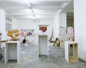 Image: Franz West, Symbol, 1999 (foreground), in West's studio in Vienna. © Archiv Franz West, © Estate Franz West. Photo © Jens Preusse
