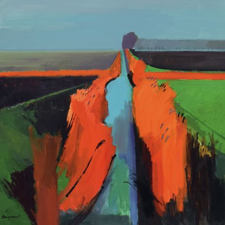 Fred Ingrams, Foggy Ditch II - Acrylic on board, 123 x 123 cm
