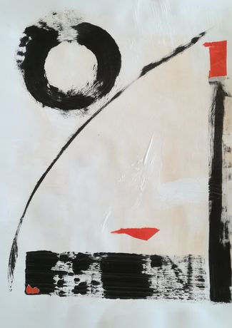 An abstract painting use black, peach and red paint