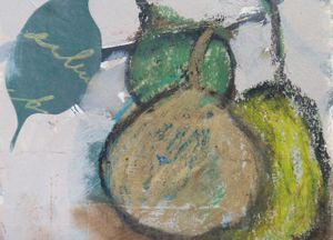 Lesley Birch, Detail from Pears Shapes, Collage, Acrylic, Oil pastel & Charcoal - from Lesley's sketchbook, 2013.   © The Artist