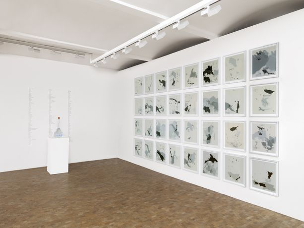 Installation view: Ayan Farah, Tania Kovats, Bill Woodrow, From a distance, group exhibition, Pippy Houldsworth Gallery, London (2017). Courtesy Pippy Houldsworth Gallery, London.
