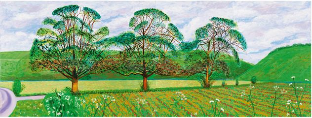 David Hockney: Three Trees near Thixendale, Spring, 2008