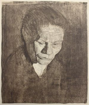 Käthe Kollwitz, Gesenkter Frauenkopf. Study of a Woman with Head Bent, 1905, soft ground etching on paper, Pallant House Gallery, Chichester (The Elizabeth Burney Bequest, 2018)