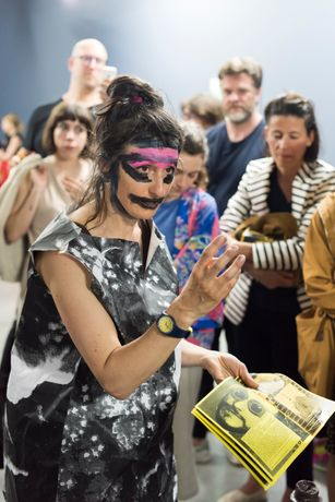 Performance view, Marvin Gaye Chetwynd, Here She Comes, Royal Festival Hall, Southbank Centre, London, 10 March 2016 Copyright Marvin Gaye Chetwynd, courtesy Sadie Coles HQ, London Photography: Martin Argyroglo
