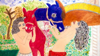 Detail from Girls with donkeys - 70 x 48 cm Reza Shafahi
