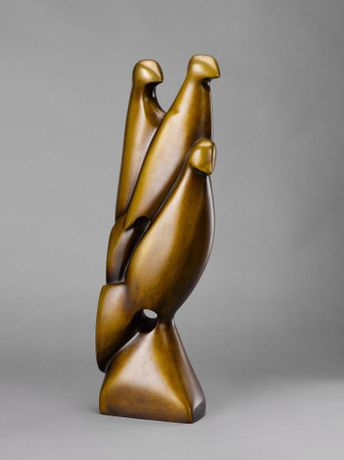 Margarethe Moll | Three Birds | bronze | 1928 | signed and cast stamp | 53 x 15