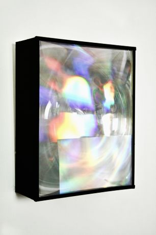 Matthijs Kimpe, Reflector, 2020, Fresnel lens with foil on prepared wooden frame, 41 x 32 cm