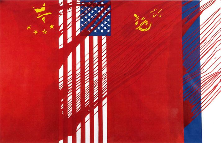 Gérard Fromanger, Chine USA URSS, Russie, 1968-2014 Acrylic on canvas — 200 × 300 cm
