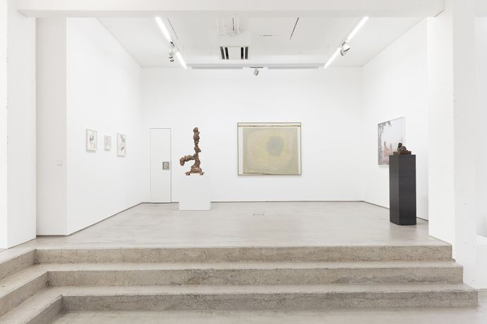 Installation view, Hildebrand Collection, G2 Kunsthalle Leipzig with art works (from left to right) by Anna K.E. (3 drawings), Tal R, Juliana Ortiz, Grit Hachmeister and Thomas Schütte. photo: Dotgain.info © the artists & G2 Kunsthalle Leipzig