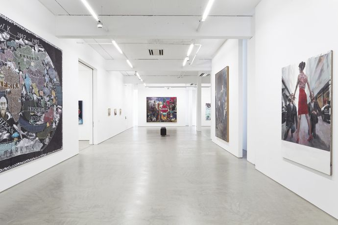 Installation view, Hildebrand Collection, G2 Kunsthalle Leipzig with paintings by (from left to right) Paule Hammer, Sebastian Gögel, Matthias Weischer (3x), Neo Rauch, David Schnell, Axel Geis and Jochen Plogsties. photo: Dotgain.info © the artists & G2 Kunsthalle Leipzig