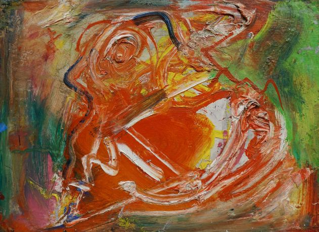 Hans Hofmann 1880-1966 The Male, 1950 Oil on panel 8 1/2 x 11 3/4 inches