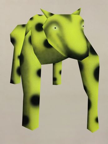 Gao Hang, A larger cheetah, 2020, Acrylic on raw canvas, 72 x 55 inches
