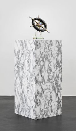 Berlin Congratulant, 2013, glass, brass, metal, and zirconica diamond trophy on marble-veneered pedestal. Courtesy of Kraupa-Tuskany Zeidler, Berlin. Photo: Hans-Georg Gaul
