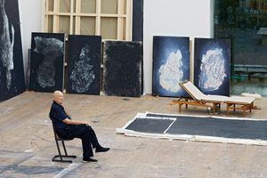 Georg Baselitz in his studio, Ammersee, Germany, 2018 Artwork © Georg Baselitz. Photo: Martin Müller, Berlin